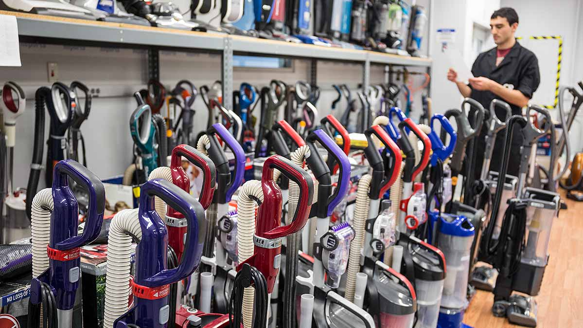 Upright vacuum cleaners in the Consumer Reports lab.