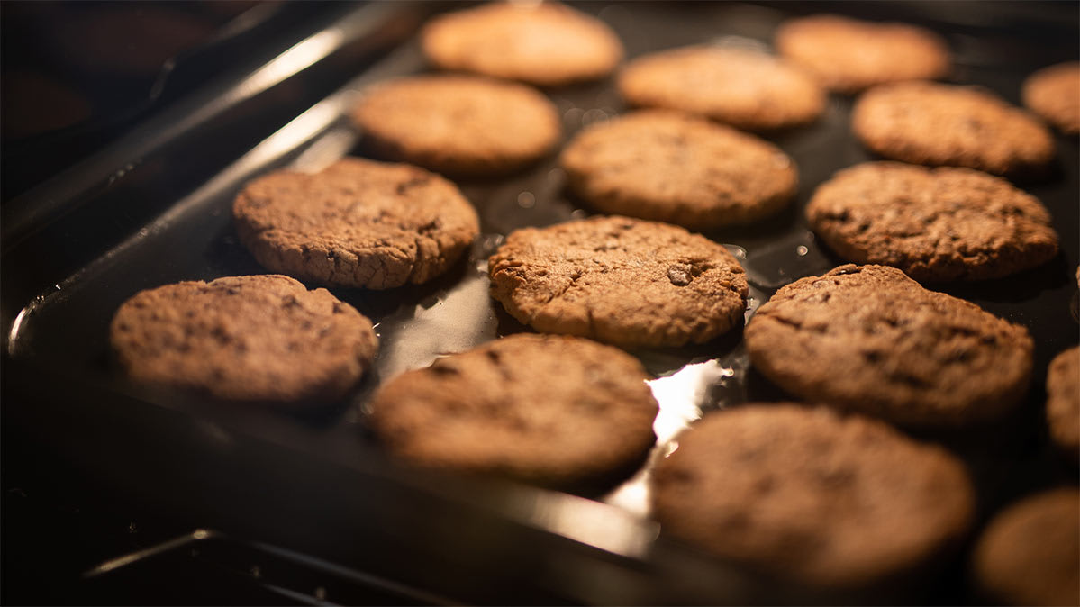Cookie being baked in an oven with convection function