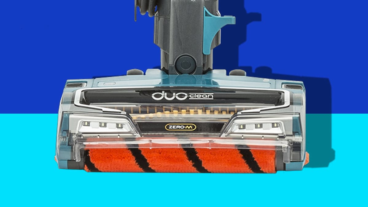 Image of a Shark DuoClean stick vacuum.
