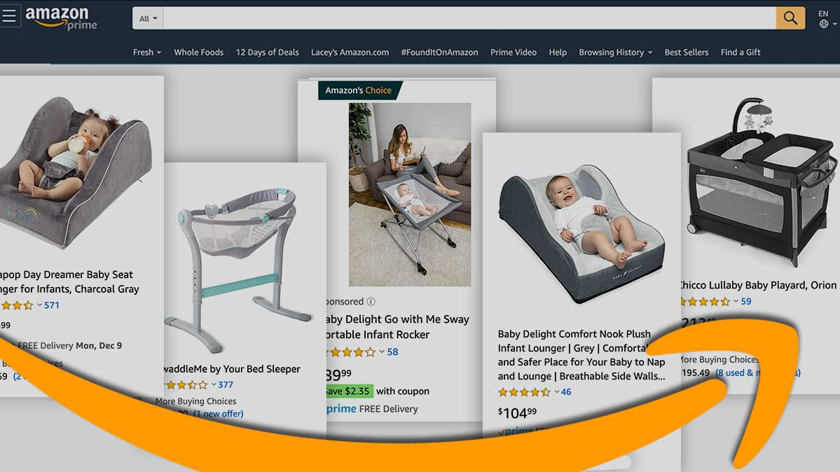 A screen grab of Amazon website depicting various infant inclined sleepers.