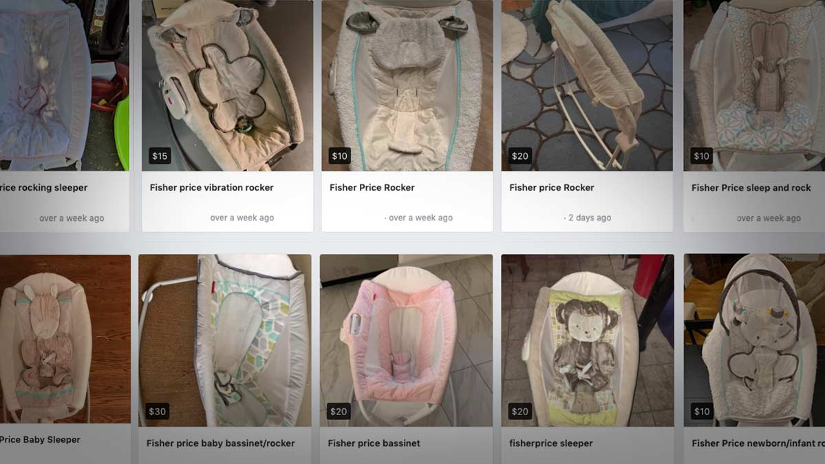Facebook Marketplace posts selling recalled infant inclined sleepers