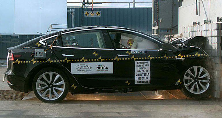 Tesla Model 3 front crash test conducted by NHTSA