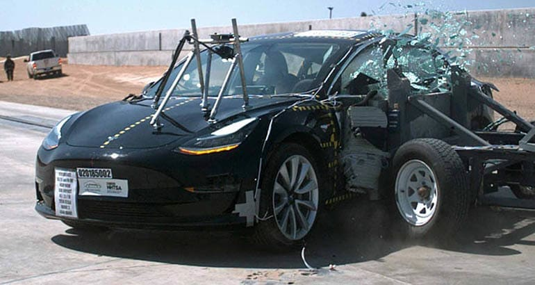 Tesla Model 3 side crash test conducted by NHTSA