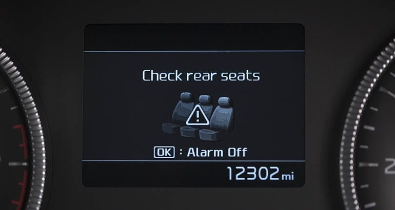2019 Kia Telluride rear occupant alert screen