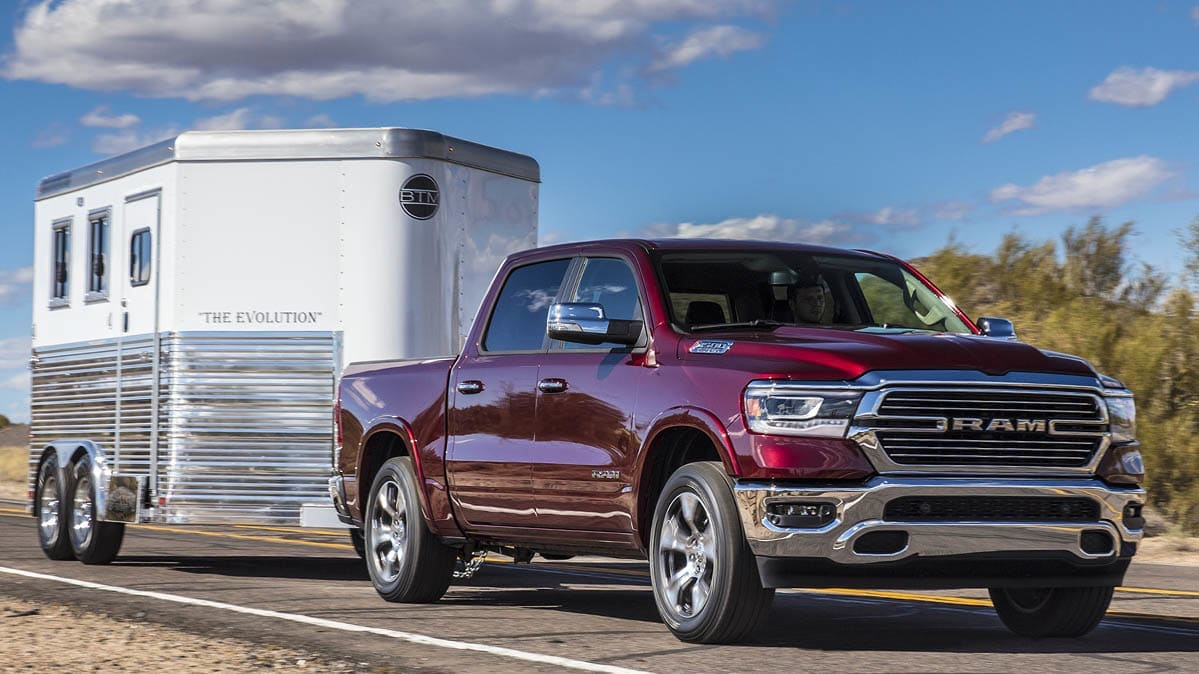 Ram 1500 pickup truck towing a trailer