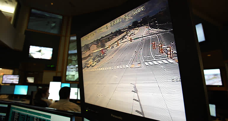Traffic monitor in control room.
