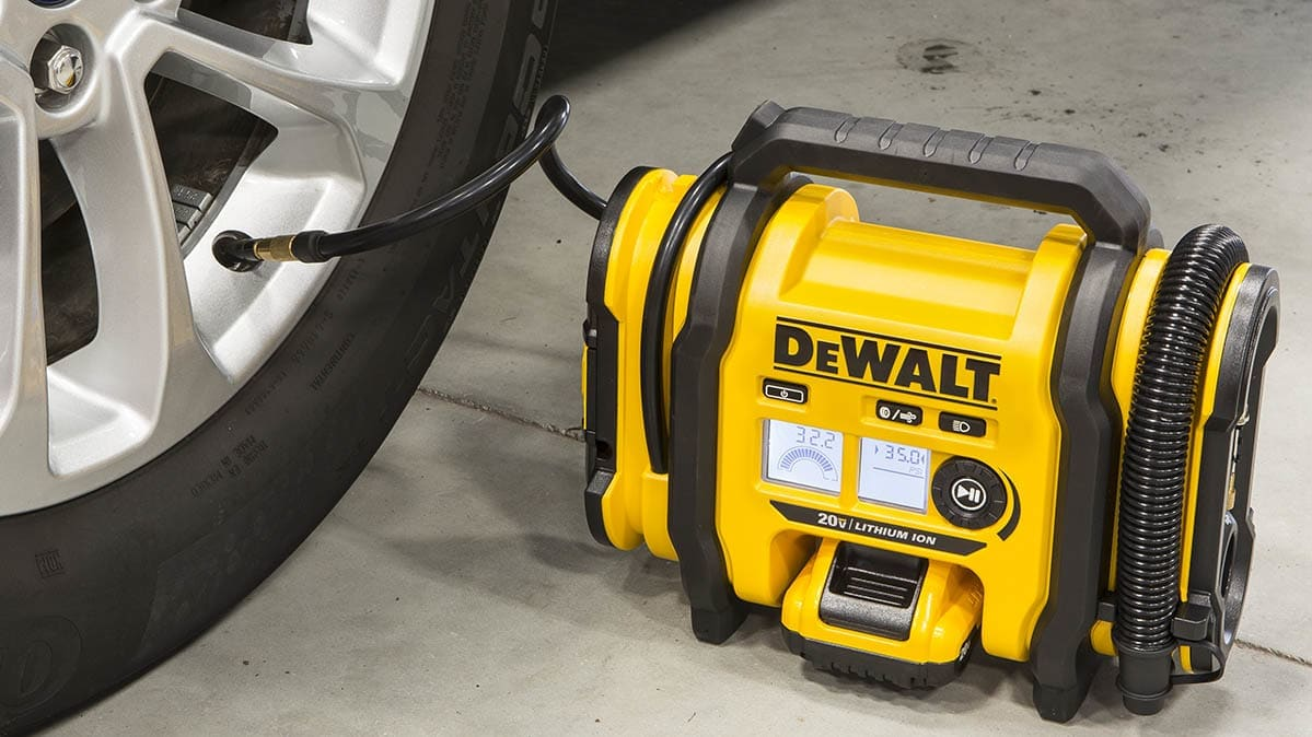 The DeWalt 20V Max cordless tire inflator