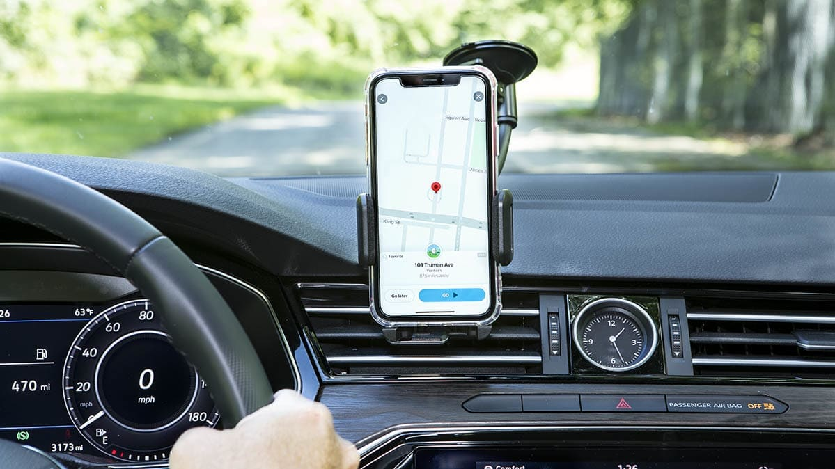 A car with a cell-phone mount.