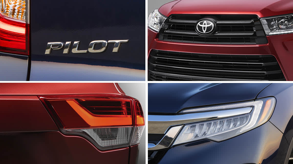 Various angles of the Honda Pilot and Toyota Highlander.