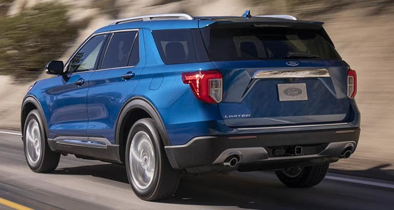 2020 Ford Explorer driving, rear