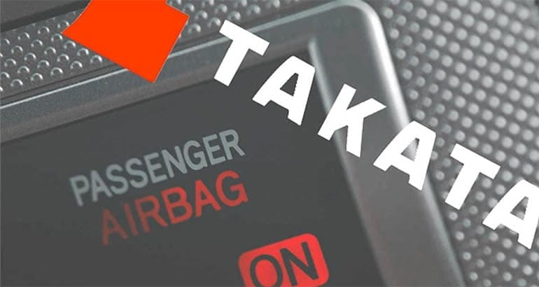 A logo for the airbag maker Takata, whose products have been recalled
