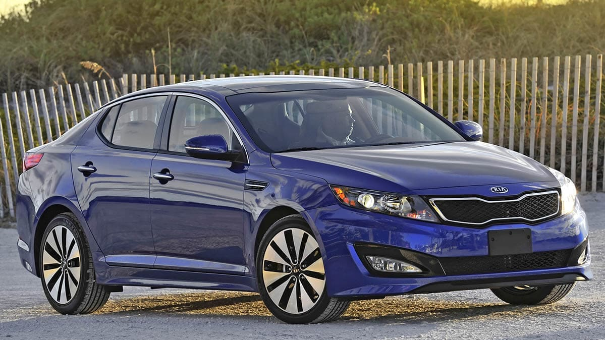 A 2012 Kia Optima, included in the Hyundai and Kia recall.