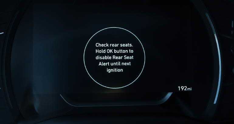 2020 Hyundai Santa Fe with rear occupant alert displayed