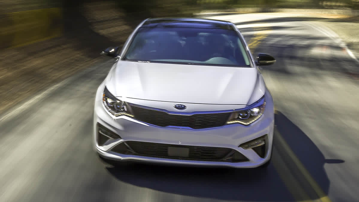 A white sedan that's part of the Kia Optima recall.