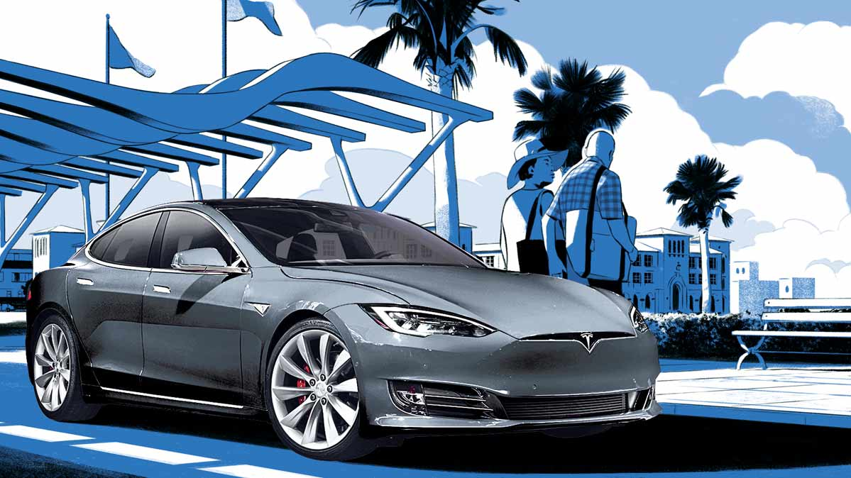 Illustration of a Tesla electric vehicle