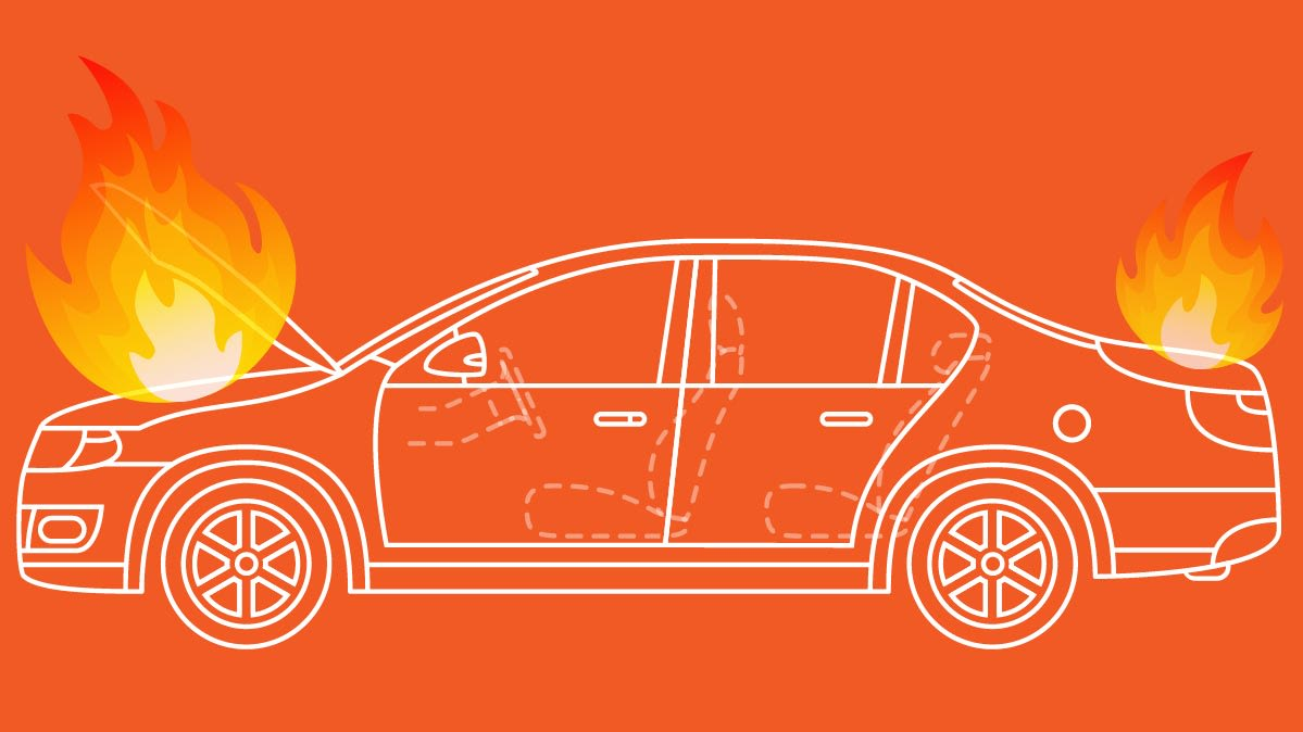 Illustration of a car fire