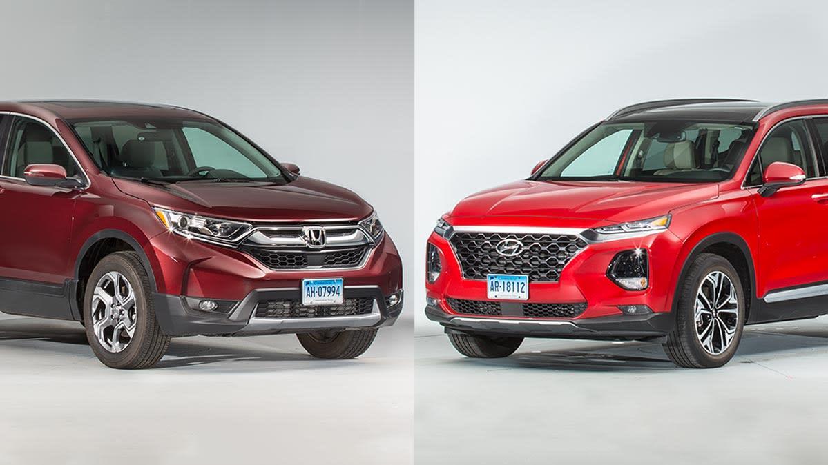 Honda Santa Fe >> Face Off Honda Cr V Vs Hyundai Santa Fe Consumer Reports