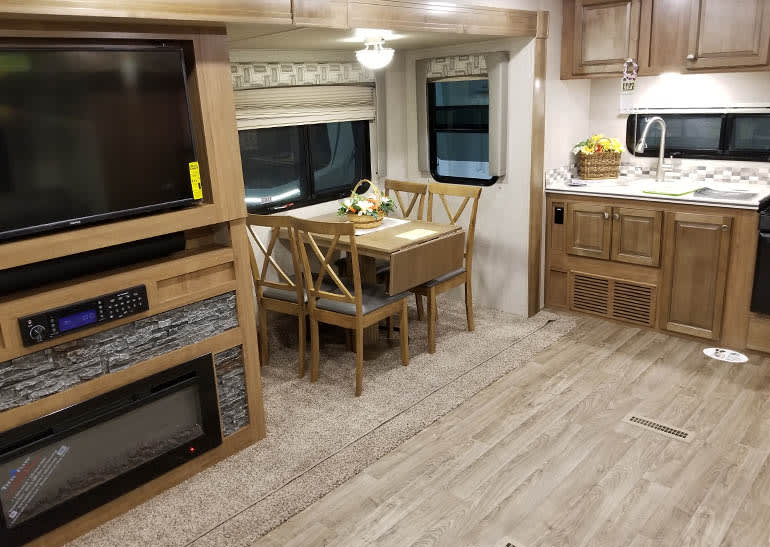 Inside a travel trailer.