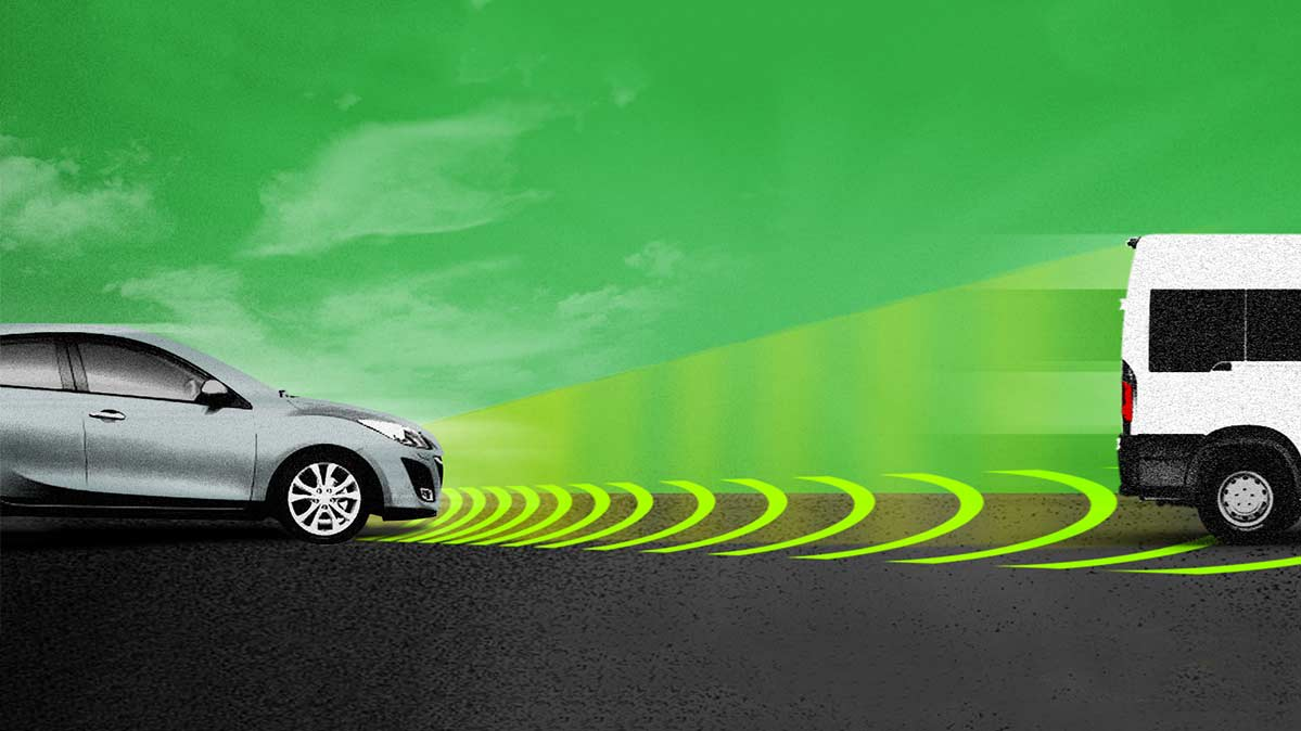 An illustration of how Adaptive Cruise Control works.