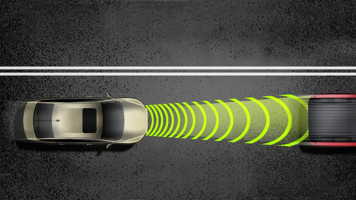An illustration of how Forward Collision Warning systems work.
