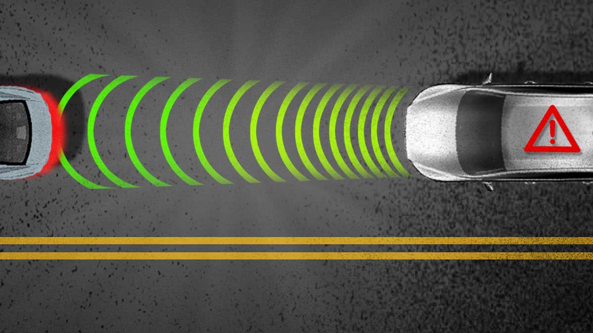 An illustration of how Automatic Emergency Braking works.