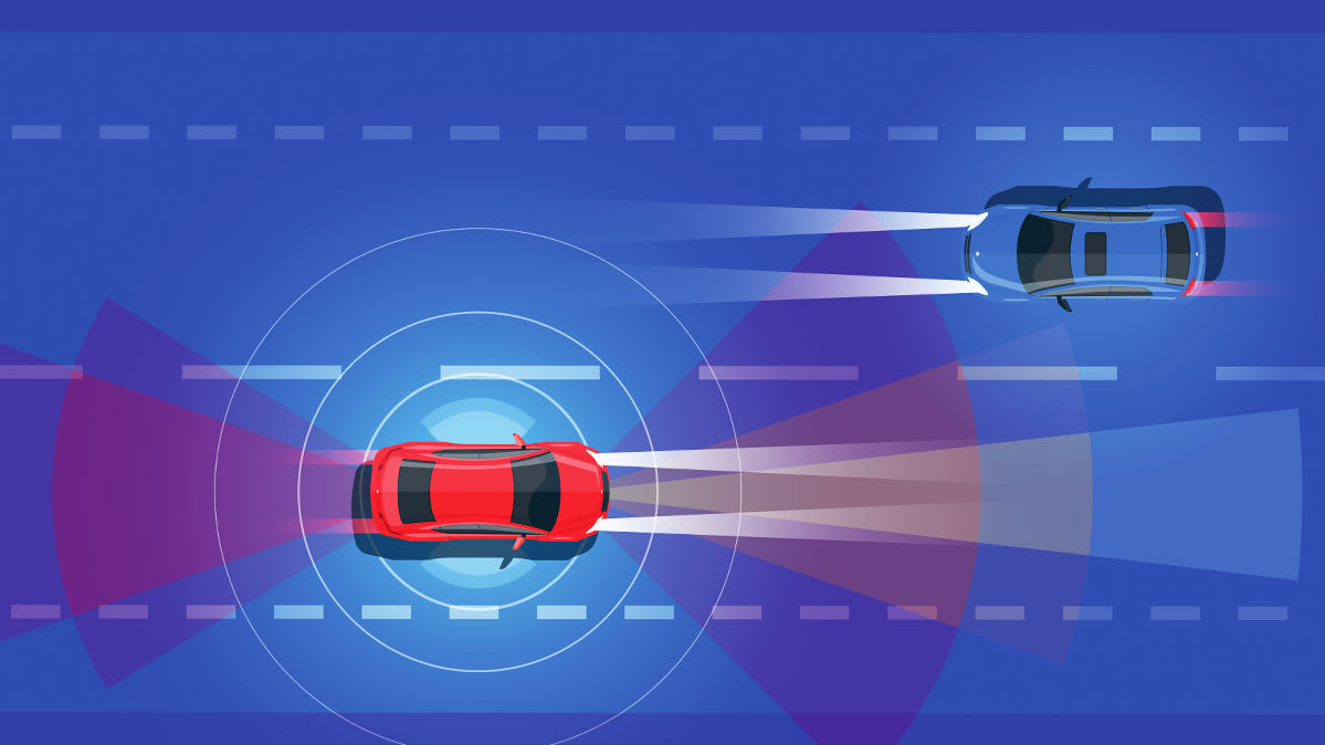 Illustration showing two cars with driver-assist features