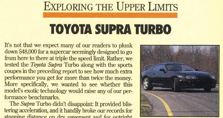 1994 Toyota Supra road test in Consumer Reports Magazine