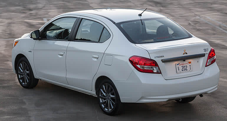 Mitsubishi Mirage recall includes the 2017 sedan, shown from rear.