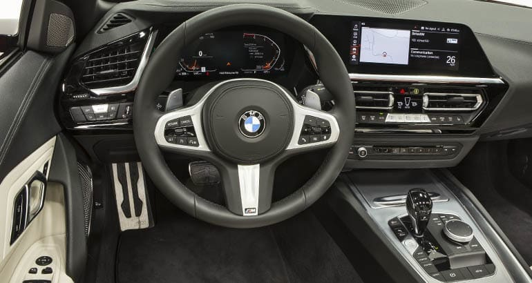 BMW Z4 interior. The Z4 is included in the latest recall.
