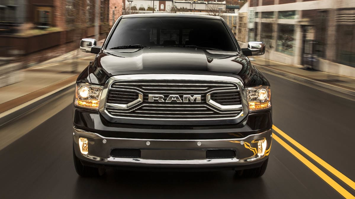 A black truck that's part of the Ram pickup truck recall.