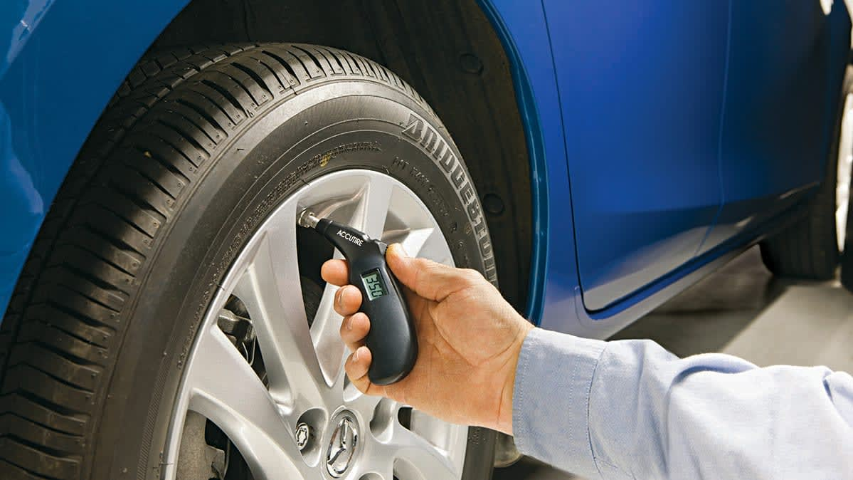 Tire Safety Checklist includes checking tire pressure