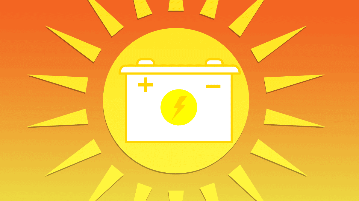 An illustration of the sun and a car battery.