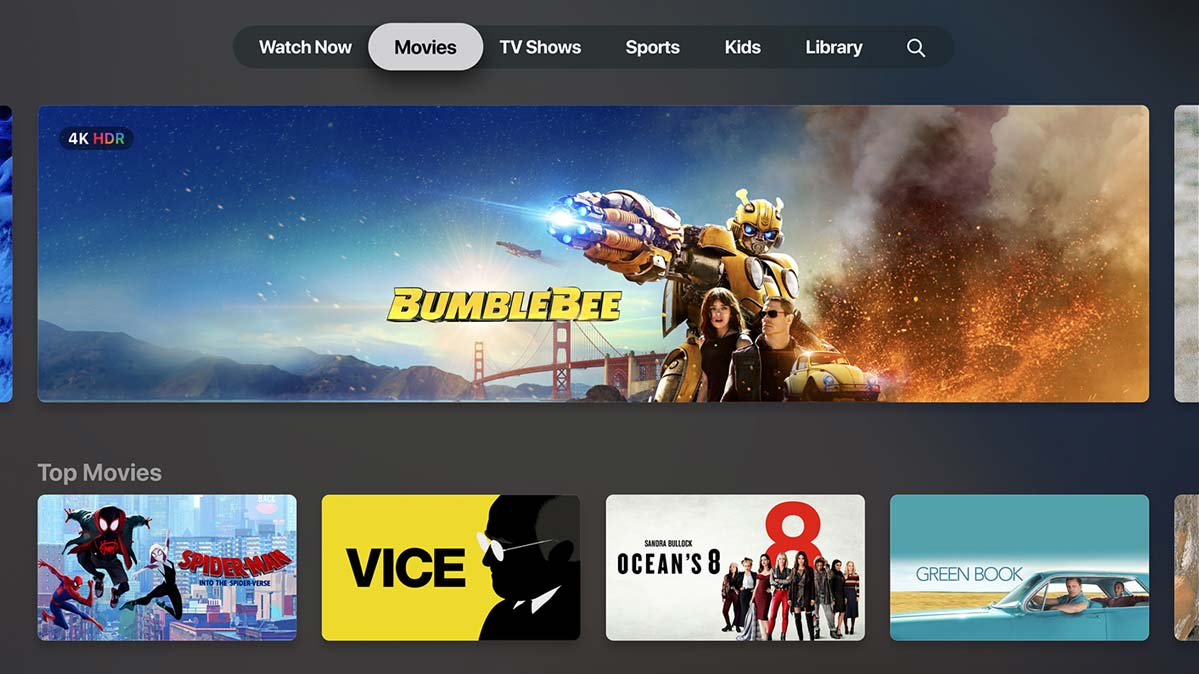 Photo of the Apple TV app Movies screen.