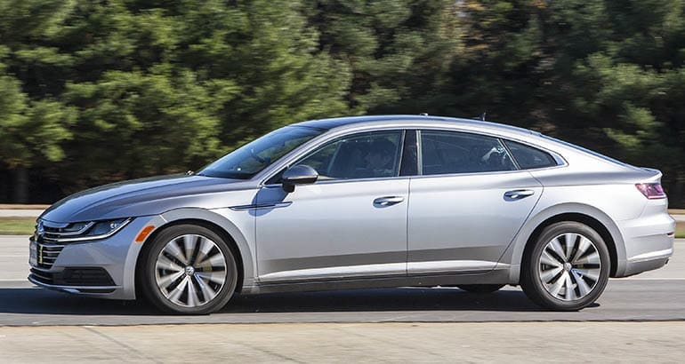Volkswagen Arteon during brake testing.