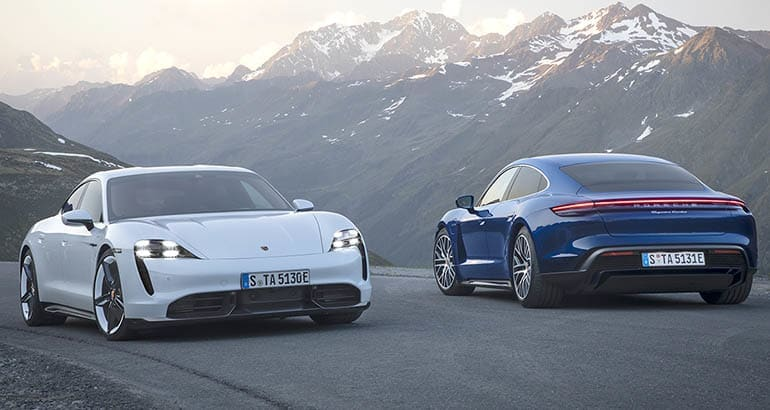 2020 Porsche Taycan front and rear