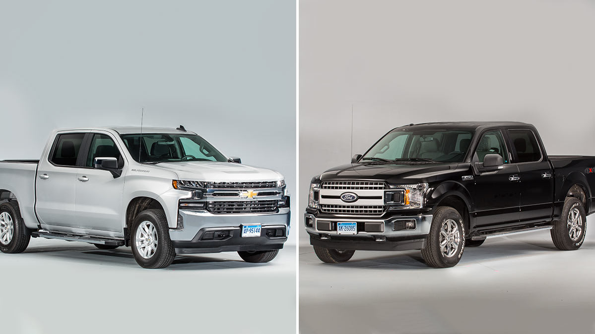 The Chevrolet Silverado (left) and Ford F-150 (right) pickup trucks