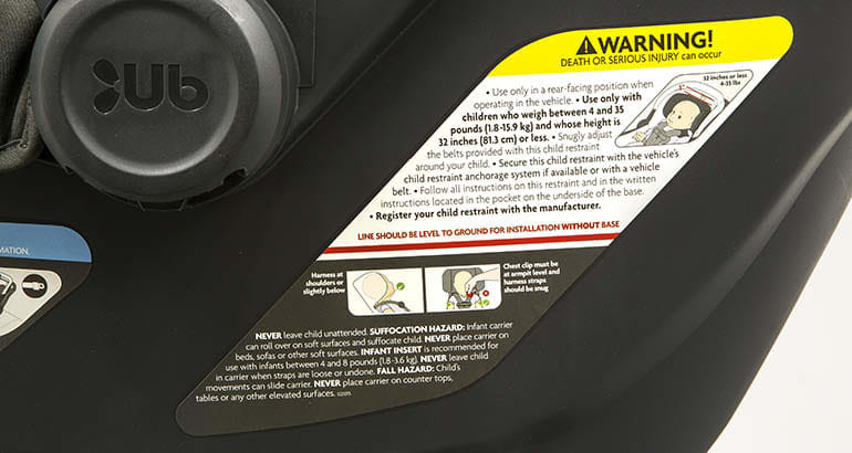 Car seat label with installation instructions.