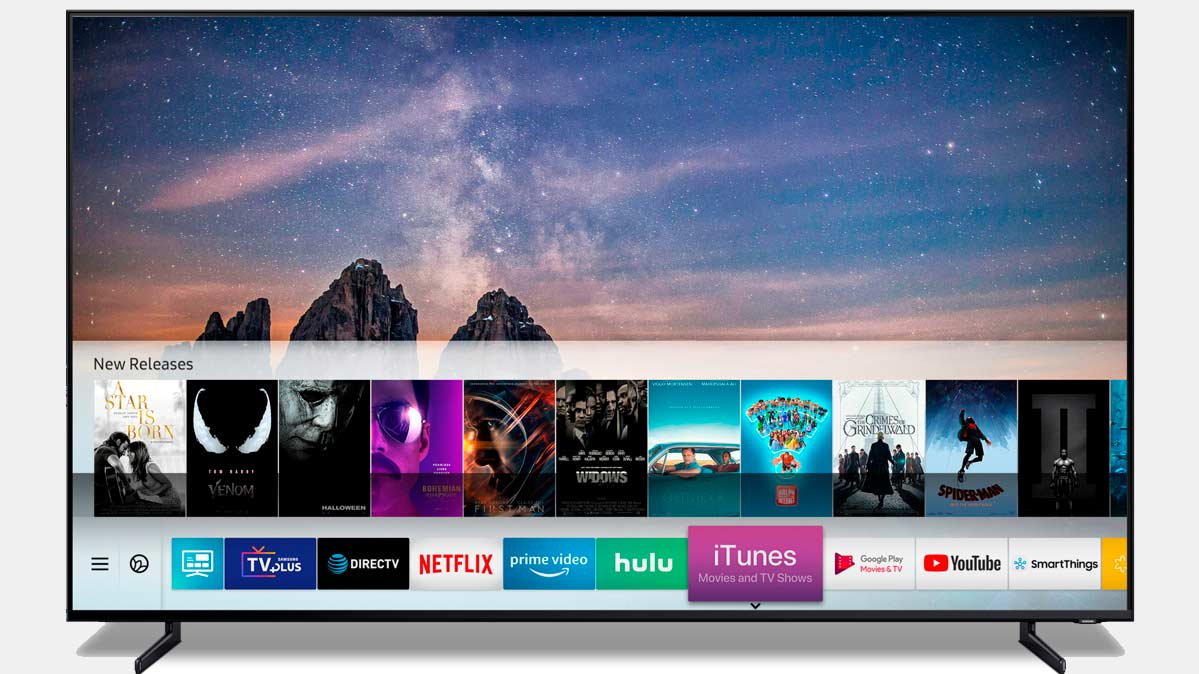 Photo of 2019 Samsung TV's home screen with iTunes app.