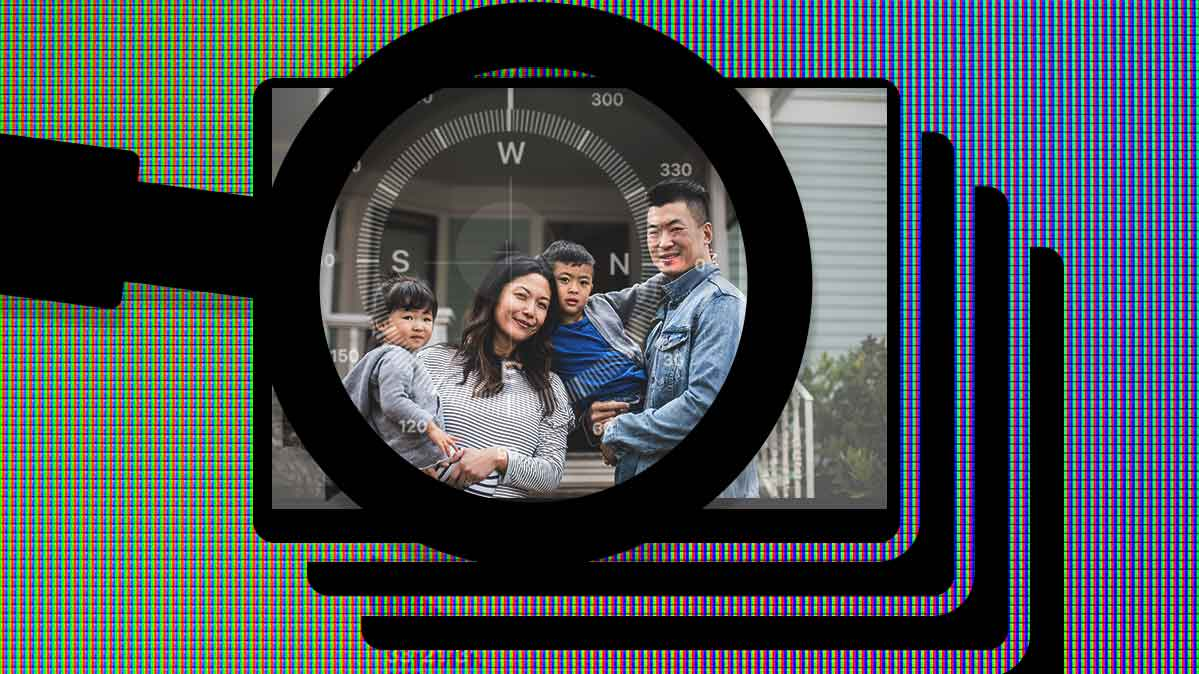 A family with a magnifying glass and a compass overlayed, hinting at the location information housed in the photo's Exif data.