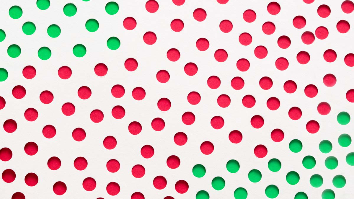 An illustration with red and green dots