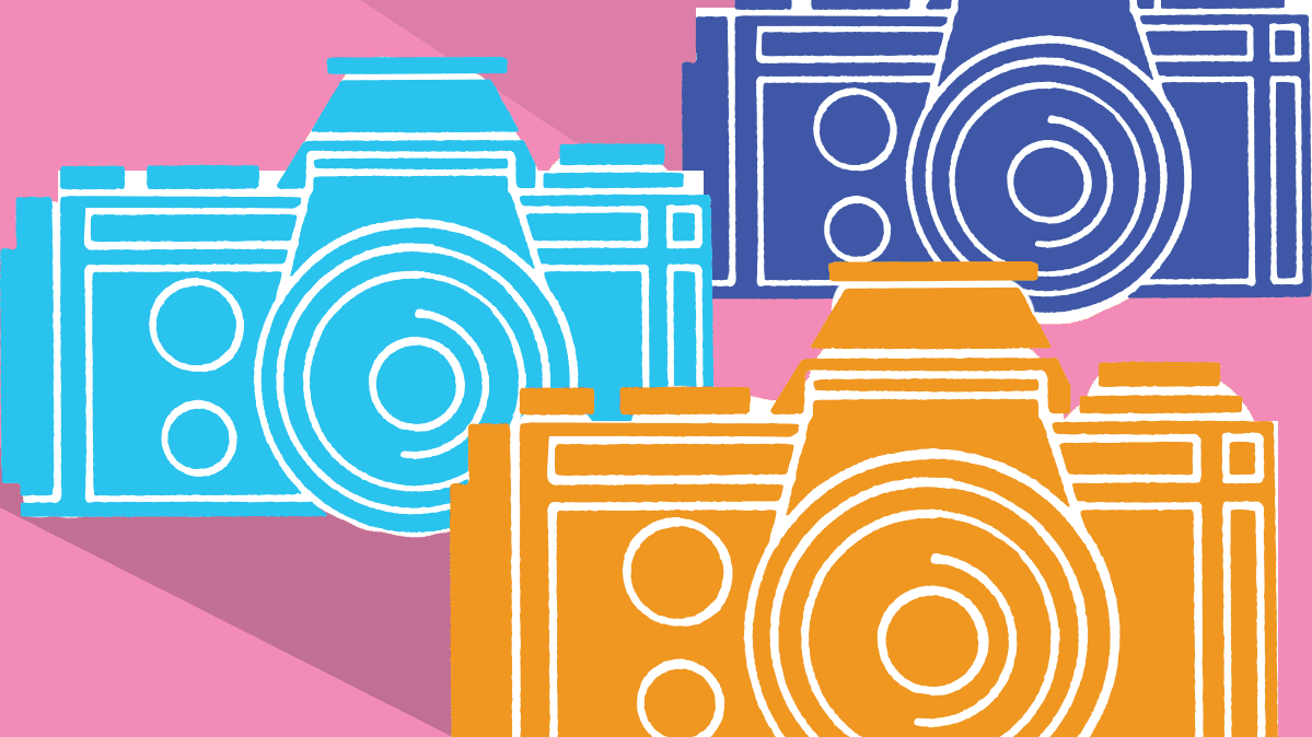 A colorful illustration showing different camera types