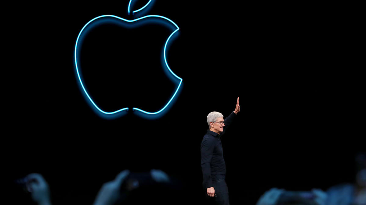 Tim Cook onstage at Apple's Worldwide Developers Conference.