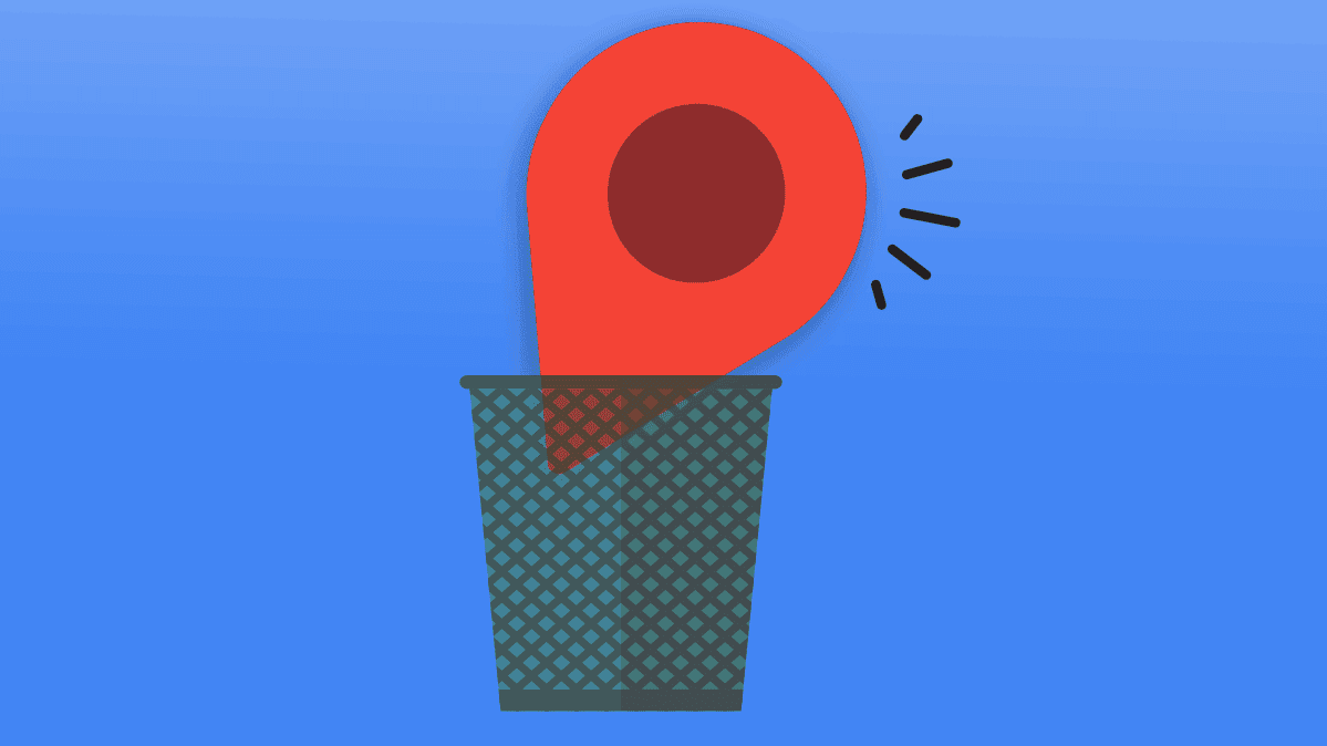 An illustration of Google's Location icon in a trash bin.