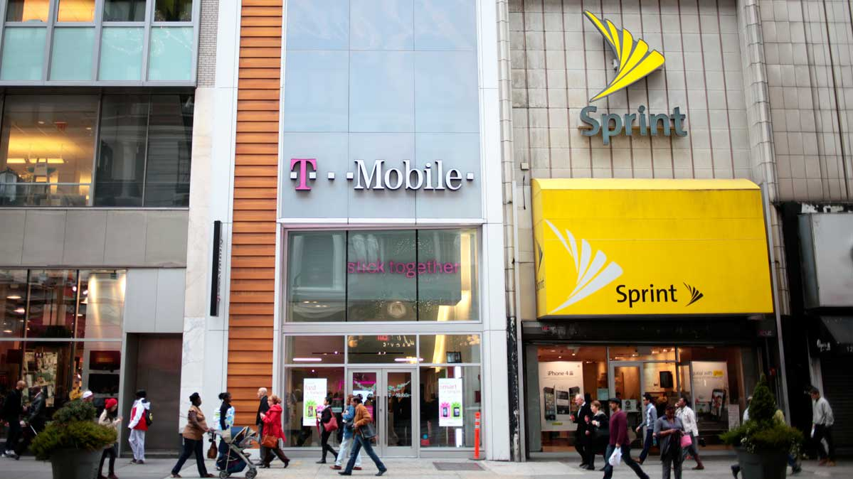 Photo of a T-Mobile store next to a Sprint store