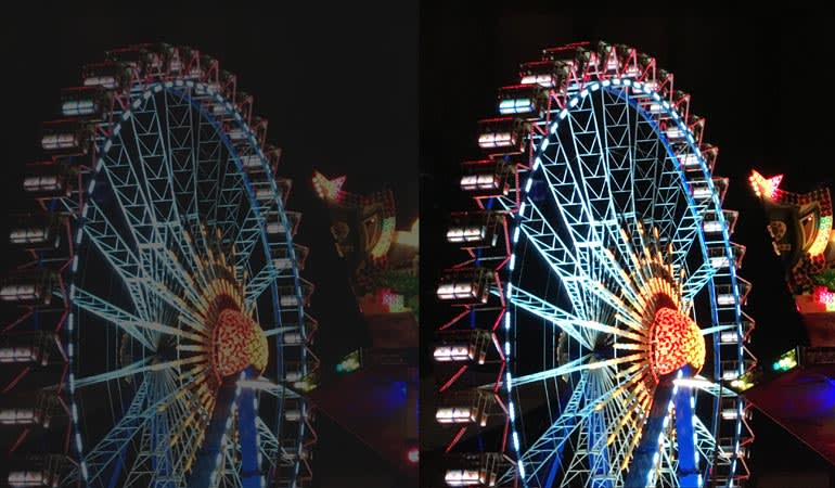 A photo of a ferris wheel comparing side-by-side SDR and HDR images.