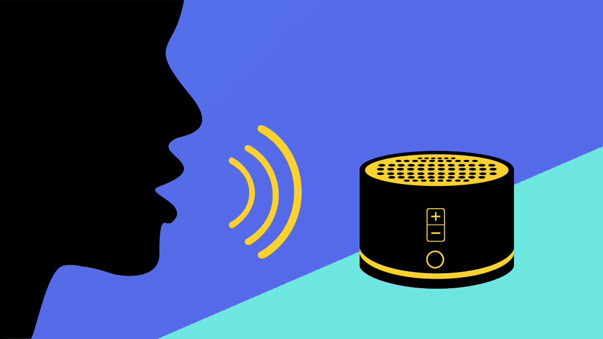 An illustration of a person speaking to a smart speaker.