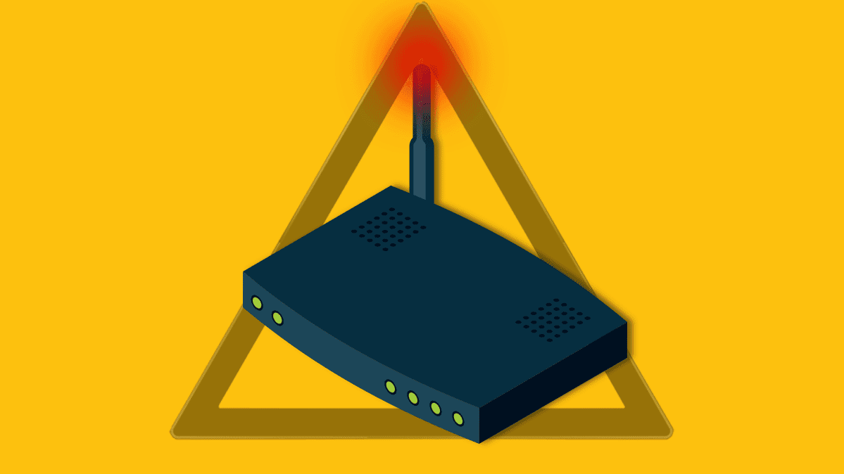 An illustration depicting a wireless router and digital security concerns