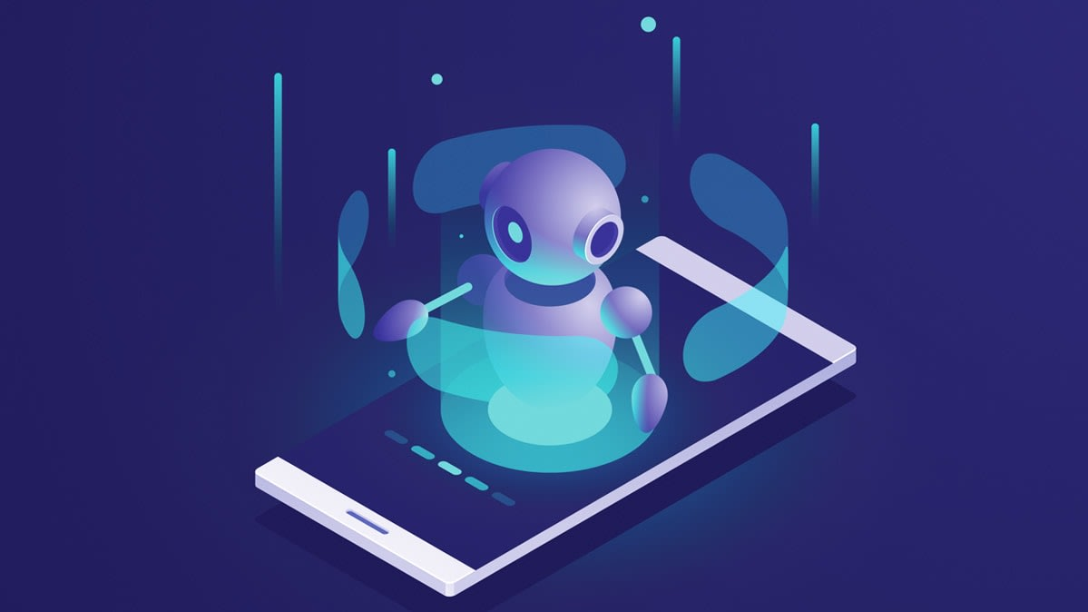 Illustration of a robot on a smartphone.