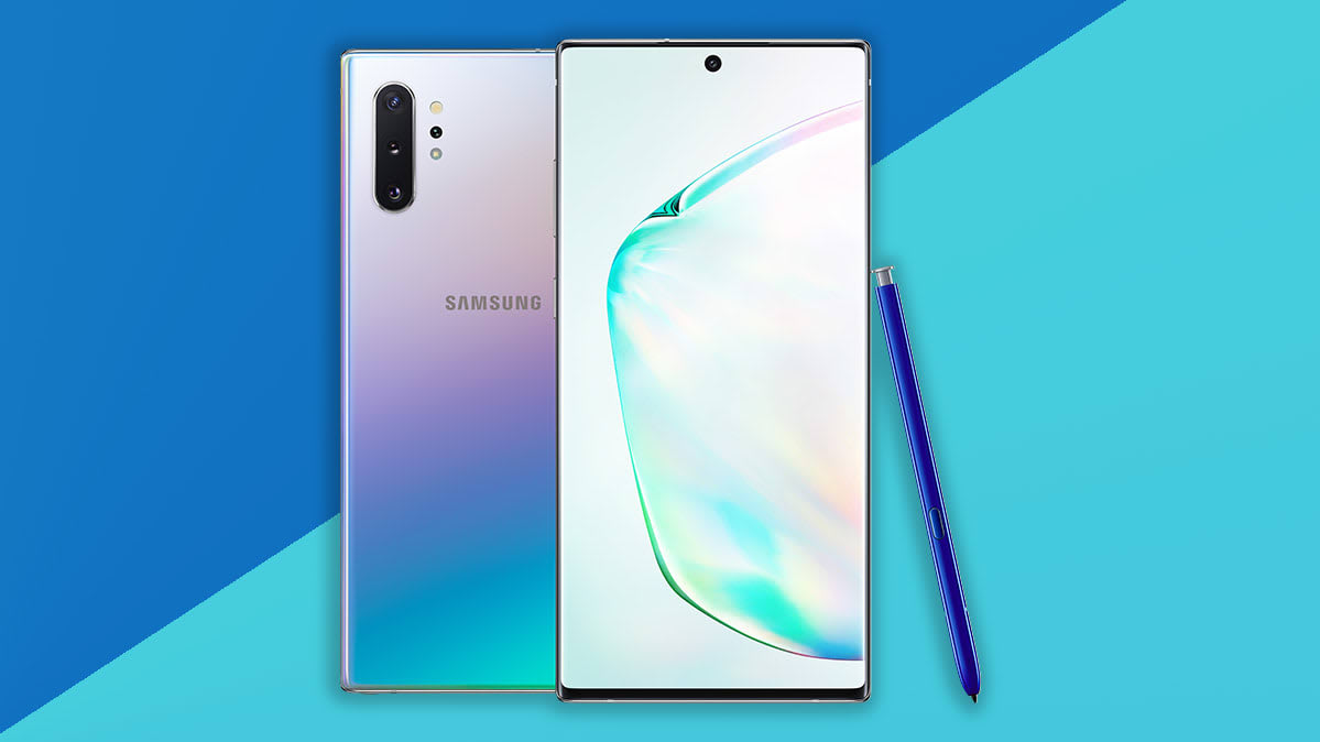 Samsung Galaxy Note10 smartphones with three rear cameras and S-Pen stylus