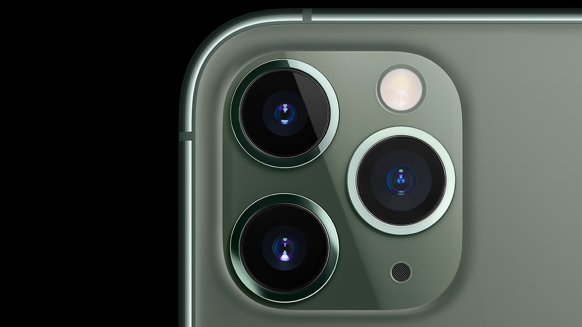 A closeup of the three rear cameras on the iPhone 11 Pro and Pro Max.
